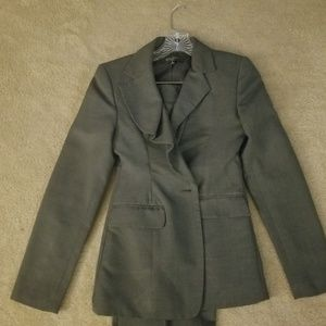 Nine west charcoal gray suit with ruffled collar b